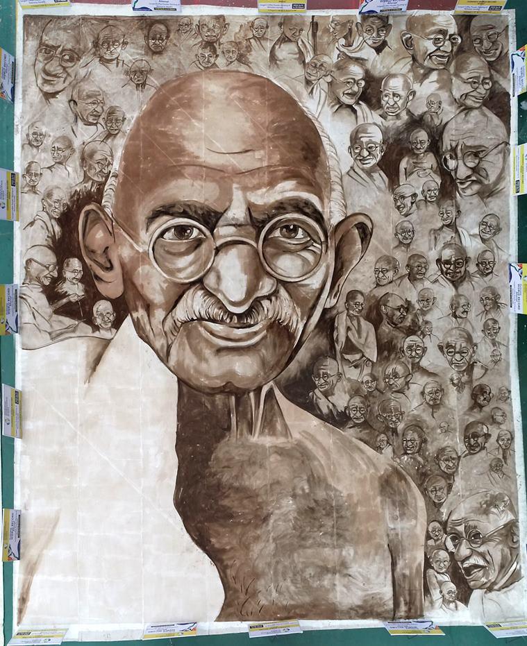 Chennai artist attempts world record with Gandhi coffee art